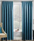 PAIRS OF TEAL BLUE BLOCK OUT THERMAL SOFT TOUCH TEXTURED  TAPE TOP CURTAINS